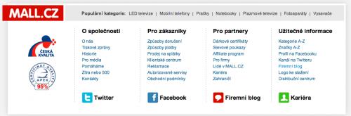 Patička s odkazy stránek www.mall.cz
