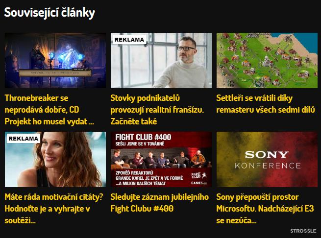 Ukázka nativní reklamy na tiscali.games.cz.