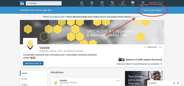 Firemní profil na LinkedIn si můžete zobrazit jako správce.