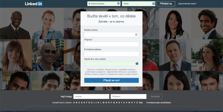 Na LinkedIn je třeba nejprve založit osobní profil.