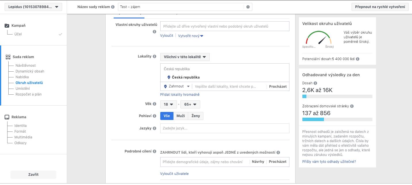 Okruh uživatelů na Facebooku.