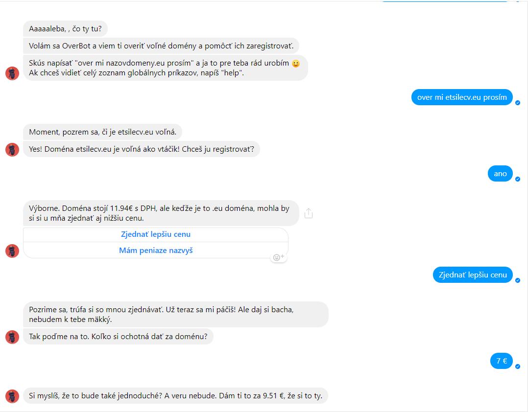 Chatbot také dokáže smlouvat o cenu.