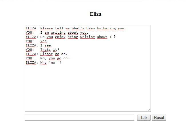 Chatbot Eliza.