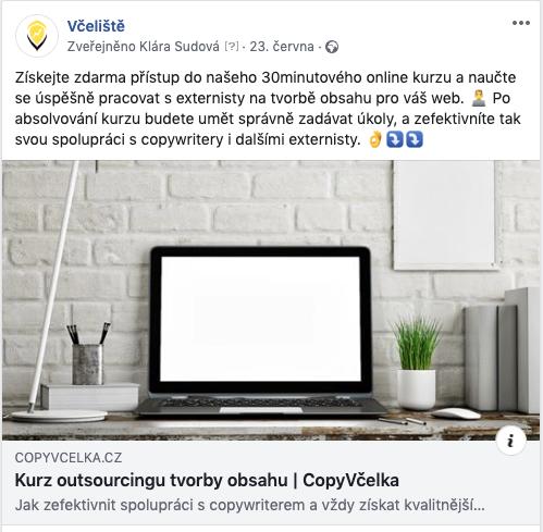 Příklad produktu na FB.