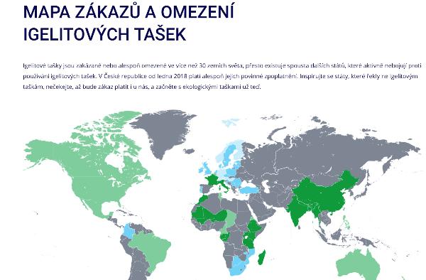 Mapa zákazů igelitových tašek BezIgelitky.