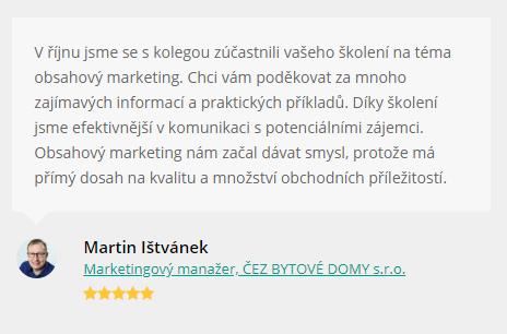 Reference na obsahové školení Včeliště.