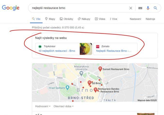 """Zobrazení sekce """"Najít výsledky na webu"""" v SERPu Googlu"""