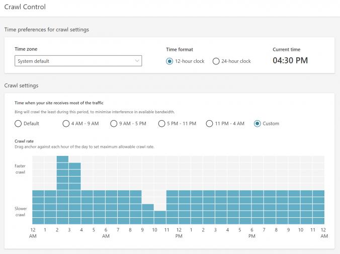 Nastavení crawlingu Bingbotem v přehledném grafu