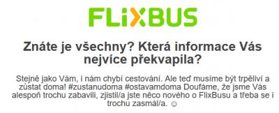 Příklad E-mailingu: FlixBus.cz