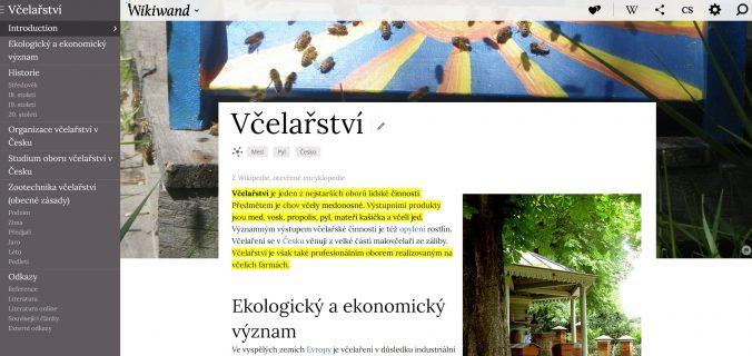 Žlutě zvýrazněný text na Wikipedii, který je shodný s tím, který se zobrazil ve vybraném úryvku.