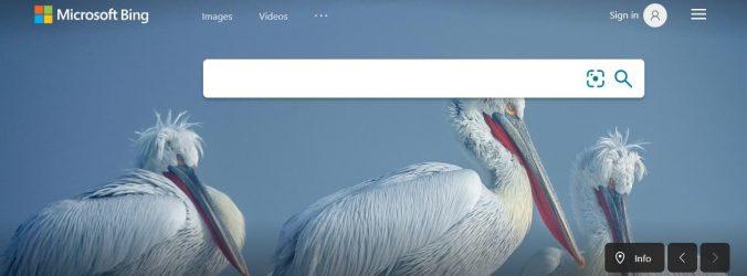 Vyhledávací stránka Microsoft Bing