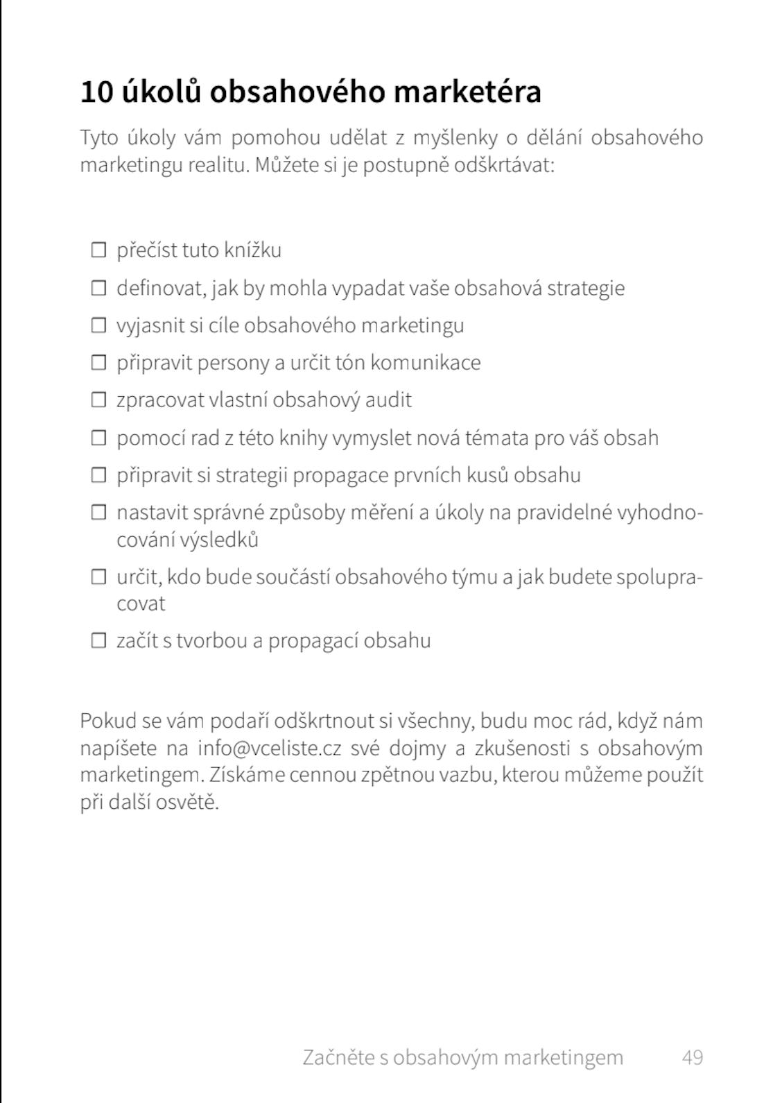 Ukázka úkolů Marketéra.