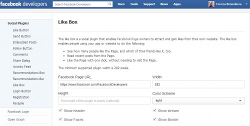 Facebook Developers Like Box