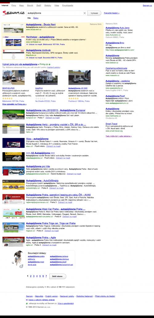 Vyhledávání na Seznam.cz nelokalizované vyhledávání pro autopůjčovna