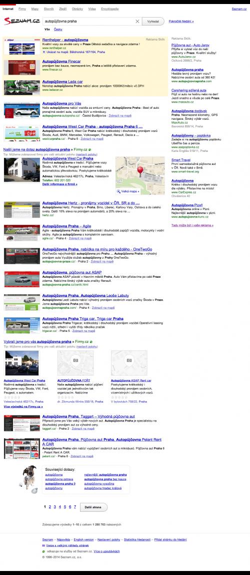 Vyhledávání na Seznam.cz nelokalizované vyhledávání pro autopůjčovna praha