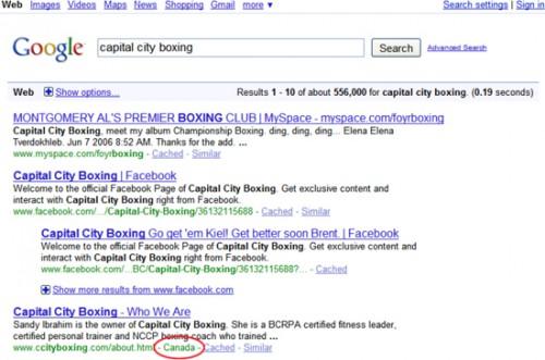 Jak se zobrazuje geo-targeting v SERPu Google