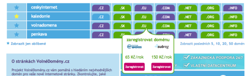Nabídka zaregistrování domény na VolnéDomény.cz