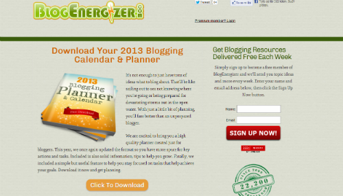 Blogging calendar od BlogEnergizer pro rok 2013