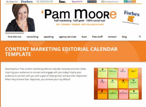 Pam Moore vydala svoji novou ultimátní šablonu pro obsahový kalendář