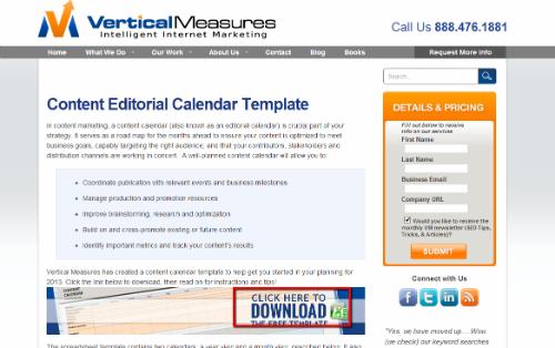 Šablona pro Excel - Roční a měsíční obsahový kalendář od Vertical Measures