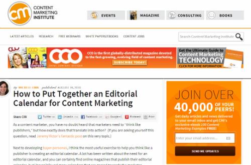 Content marketing institute vytvořil jednoduchou a extrémně použitelnou šablonu obsahového kalendáře