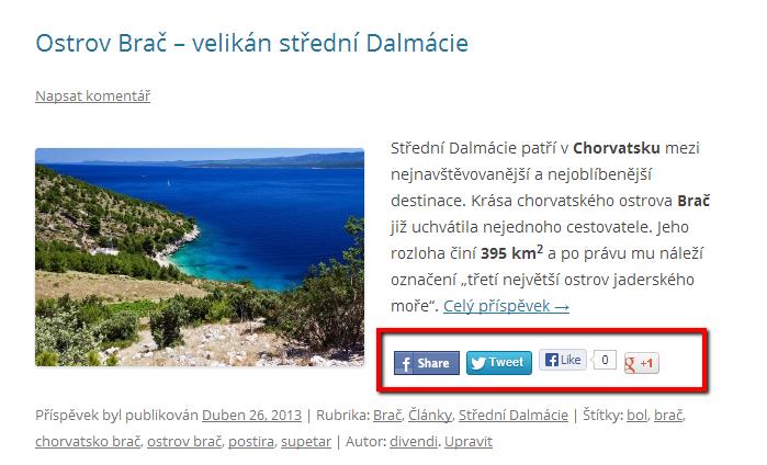 Příklad sociálních tlačítek u náhledu článku na OstrovyChorvatska.cz