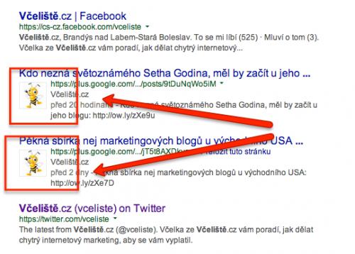 Včeliště ve výsledcích vyhledávání Google pomocí Google Plus