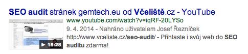 Video výsledek vyhledávání na Google